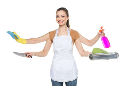 housemaid: Young smiling woman isolated over white background.