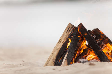 Beach campfire on lake with sand shore. burning wood on white sand in daytime Stockfoto