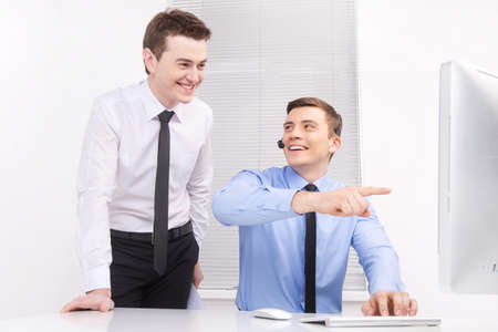 two workers in call center having fun.  Stock fotó