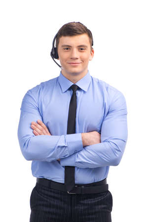 Portrait of customer service representative standing arms crossed.