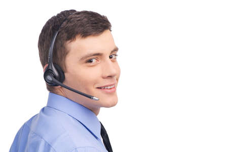 handsome technical support operator working on white.  Stock fotó