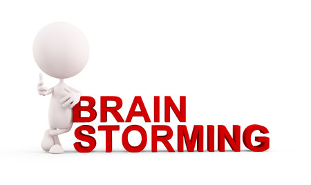 brain storming: 3d white character illustration with brain storming pose Stock Photo
