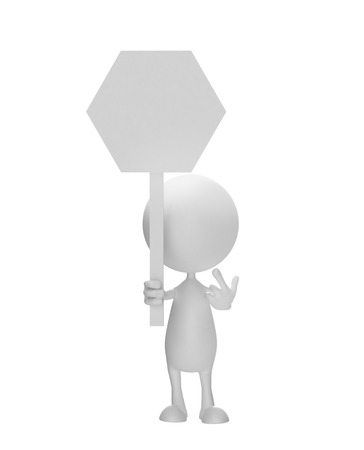 Illustration of 3d white man with sign board illustration
