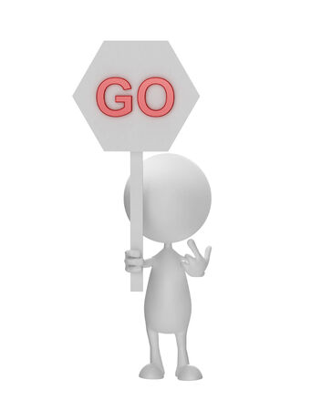 Illustration of 3d white man with go sign board illustration