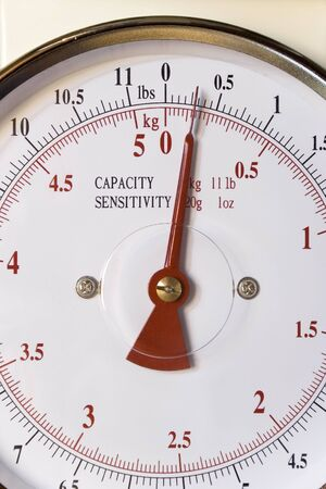 grams: Weighing scale dial Stock Photo