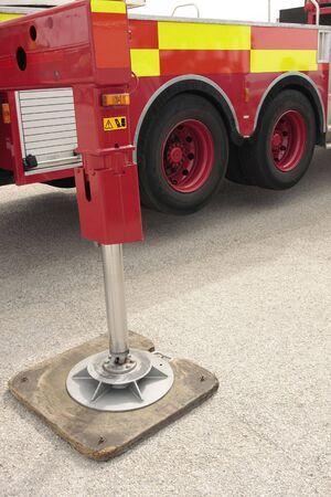 Raised Firetruck hydraulic legs