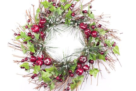 Christmas Wreath on white background photo