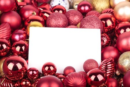 Christmas decorations and blank greeting card