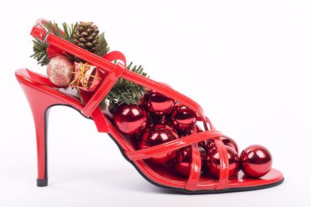 Red stilettos shoes with xmas decorations Stock Photo