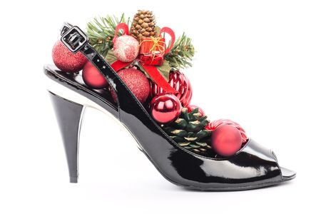 Black stilettos shoes with xmas decorations photo