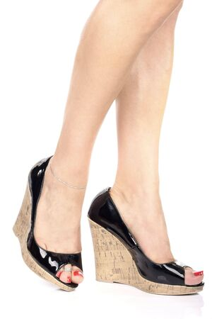 Woman's leg and  black high heel shoes Stock Photo - 3954543