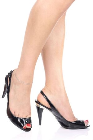 Woman's leg and  black high heel shoes Stock Photo - 3954542