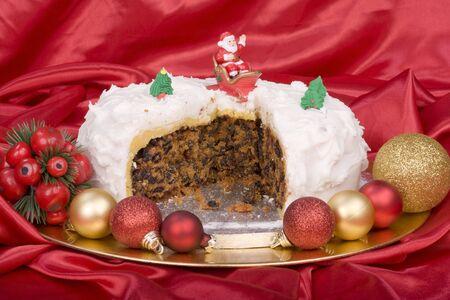 Decorated Christmas cake with icing Stock Photo