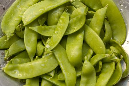 Washed bunch of snow peas Stock Photo