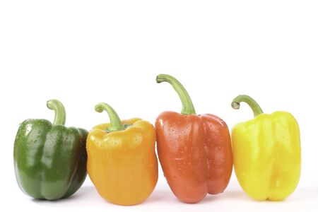 Sweet peppers closeup isolated on white background photo