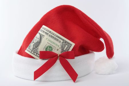 money sphere: Christmas  santa hat decorations with money