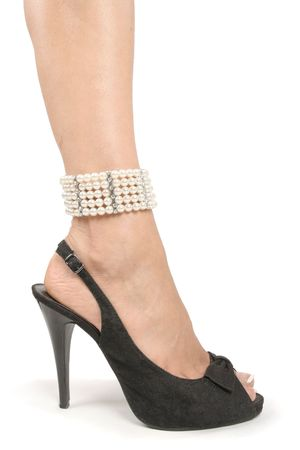 Woman feet and legs with black high heel shoes over white Stock Photo - 6217391