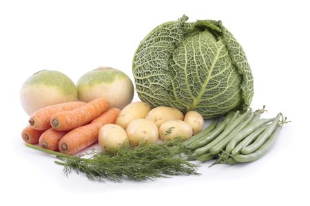 Mixed vegetables over white Stock Photo