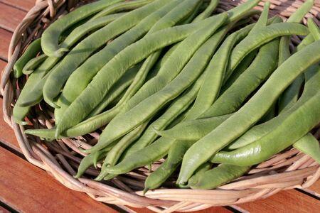 Runner beans on willow basket Stock Photo - 6259940