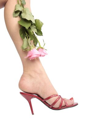 Woman legs with red high heel shoes over white Stock Photo - 6310383