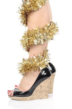 Woman Legs with christmas decorations and  high heels Stock Photo - 7943149