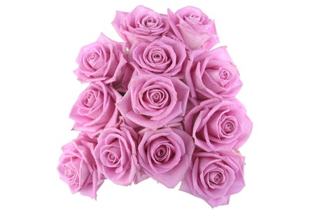 Bouquet of pink roses over white background photo