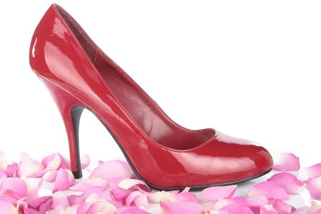 Red woman shoes and flower petals over white Stock Photo - 8093555
