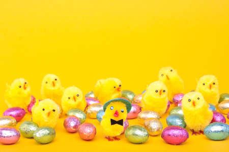 Easter eggs and chicks over yellow background Stock Photo - 8093564