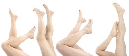 girl soles: Beautiful woman  legs  and feet isolated over white