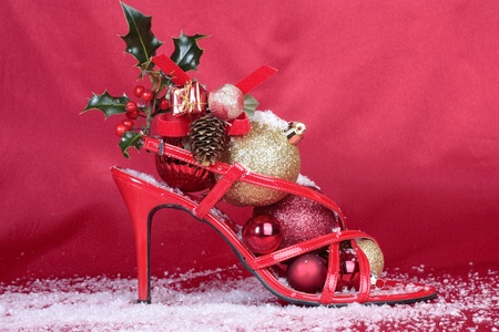 Red  stilettos shoes with xmas decorations