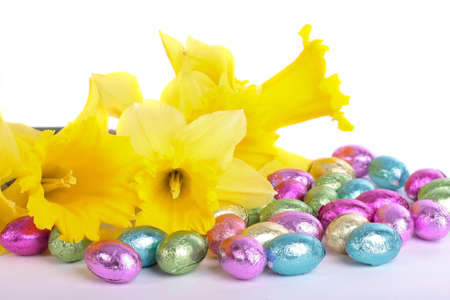 Spring daffodil flowers and easter eggs isolated over white background Stock Photo - 8372006