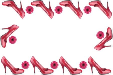 tacones rojos: Zapatos de mujer rojo sobre fondo blanco Foto de archivo