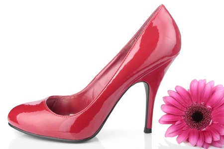Red woman shoes over white background photo