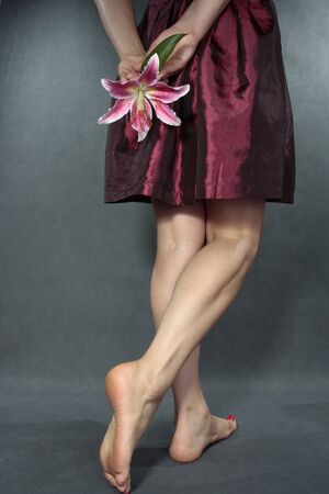 female feet: Woman legs with red  dress  and flower over grey Stock Photo