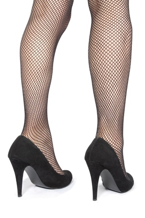 hold ups: Beautiful woman  legs stockings  with  heels over white