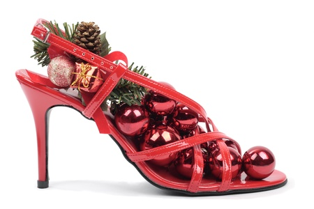 Christmas decorations with heel shoes photo