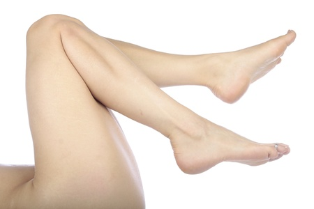 waxed legs: Woman legs isolated over white Stock Photo
