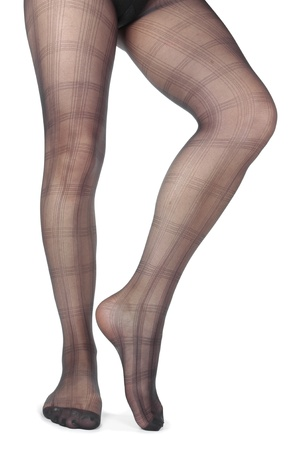 Sexy Frau Beine tragen Strumpfhosen auf weißem Hintergrund