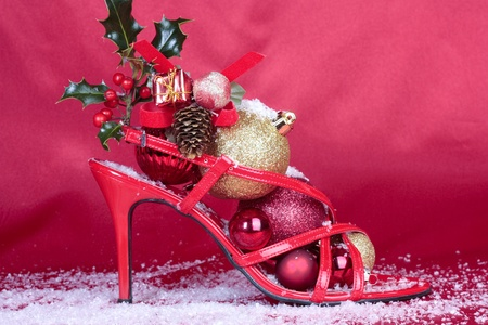 Christmas decorations with heel shoes Stock Photo