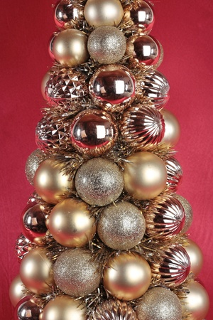 Christmas decorations closeup over red Stock Photo - 11546407