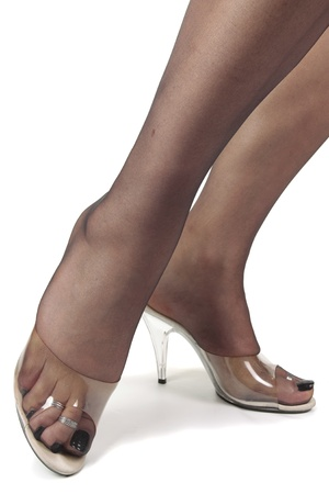 stocking feet: Beautiful woman legs wearing heel shoes tights