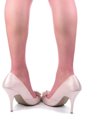 hold ups: Beautiful woman  legs tights  with pink  heels over white background