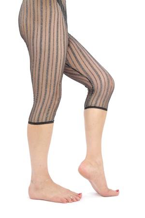 Frau Beine tragen Leggins über weißem Hintergrund Standard-Bild