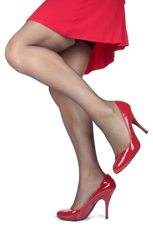 hold ups: Beautiful woman legs and red heel shoes and tights over white background