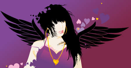beautifully, cupid, girl, heart, romanticism, the valentines day wings Vector