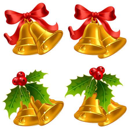 jingle bell: Set of vector golden Christmas bells