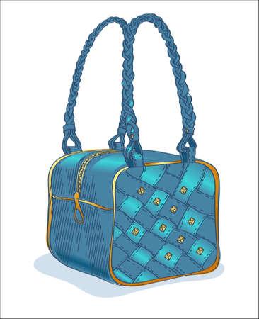 luggage bag: Sketch of a denim blue handbag Illustration