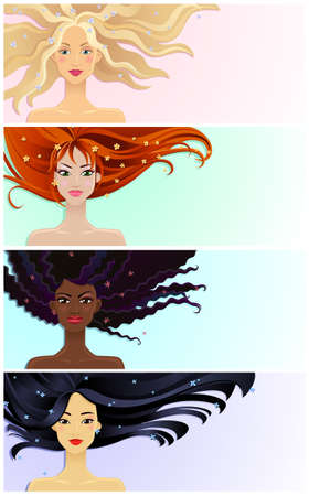 asian afro: Set of vector banners with young pretty girls Illustration
