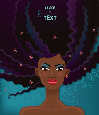 light complexion: Pretty young african woman with beauty hairs  Vector Illustration