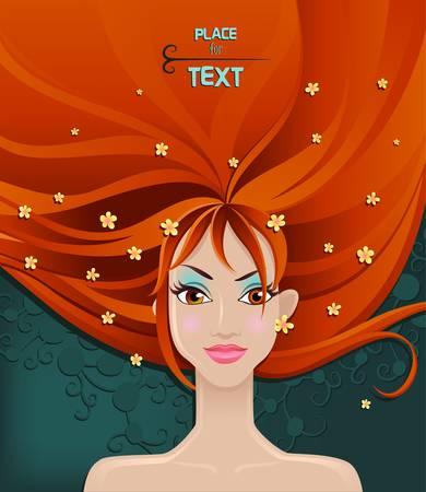 Pretty young woman with beauty red hairs  Vector Stock Vector - 12942995